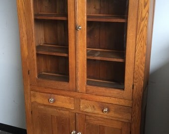 Antique Kitchen Cabinet Cupboard Pie Safe Rear Vented Oak Wavy Glass 14d38w70h Shipping is Not free