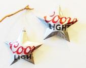 Coors Light Beer New Style Can Stars Christmas Ornaments Aluminum Can Upcycled