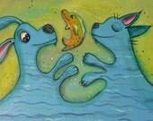 Water Dog and Cat Pop Art Happyart Painting