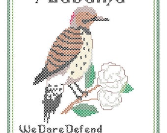 Alabama State Bird, Flower and Motto Cross Stitch Pattern PDF