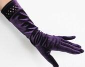 Purple Velvet Gloves with Cutwork Cuffs