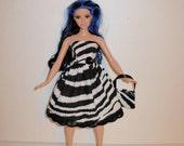 Handmade barbie clothes, CUTE Zebra dress and bag for new barbie curvy doll