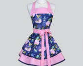 Ruffled Retro Apron / Cute Full Vintage Kitchen Womens Apron in Spring Lulabelle Yellow Birds Pink Roses on Navy Personalize or Monogram