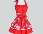 Flirty Chic Womens Aprons - Full Retro Sexy Kitchen Apron in Vintage Large Red and White Gingham Cute Rockabilly Womans Cooking Apron