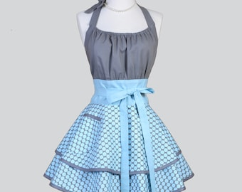 Flirty Chic Apron / Gray with Blue Dots Double Layer Flirty Skirt Cute Sexy Retro Womens Apron