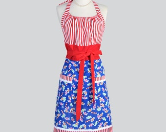 Cute Kitsch Retro Aprons . Womens Full Chef Vintage Kitchen Cooking Apron in Christmas Candy and Red Stripes Handmade Hostess Womans Apron