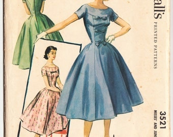 Vintage 1955 McCall's 3521 Sewing Pattern Misses' and Junior Dress Size 13 Bust 31