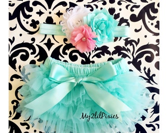Baby Bloomer and Headband Set- Ruffle Bum Baby Bloomer, spring set , mint tutu bum bloomer,Easter set,newborn bloomer, baby girl photo prop
