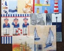 PN-92. sea / Set of 7+1 / Paper Napkins / napkins for decoupage /  Decoupage Set / kitchen decor / Decoupage / Paper Napkins