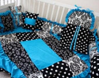 Damask Teal  Crib bedding-Free personalized pillow