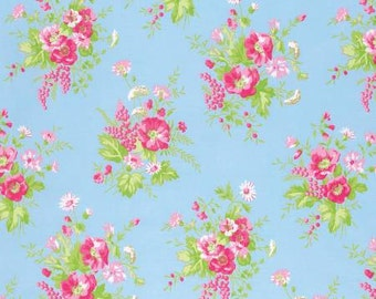 Sadie's Dance Card BLUE Wildflower PWTW125-BLU Cotton Fabric by Tanya Whelan FreeSpirit