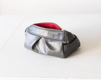 Grey makeup bag,cosmetic case,makeup bag,pencil case,zipper pouch,travel case,toiletry bag - Estia Bag