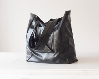 Shopper tote bag in Black distressed leather, shoulder bag, women purse, large bag, raw edge leather tote - The Aella tote