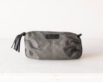 Cosmetic bag in grey canvas and black leather, makeup case accessory bag zipper pouch  bag - Ariadne makeup bag