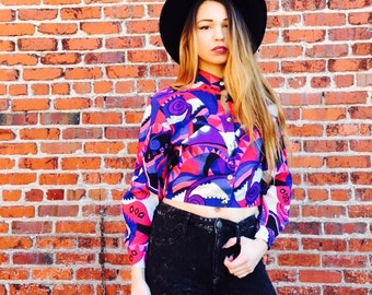 Vintage Bright All Over Print Crop Top