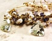 Cluster Earrings, Tanzanite Pearl Green Amethyst Gemstone Cluster Earrings ccsdesigns01