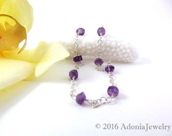 Amethyst Anklet in Sterling Silver - Gift for Her - Beach Jewelry - AdoniaJewelry