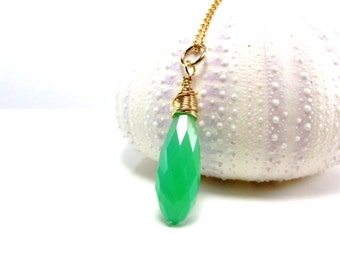 Chrysoprase Necklace Wrapped in 14k Gold Fill - Apple Green Gemstone Pendant - Handmade - AdoniaJewelry