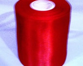 Wholesale red 4 inch wide double faced satin ribbon roll Destash 20 yds wedding sewing bridesmaid bridal party sash bouquets