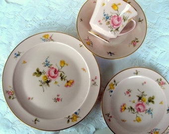 Vintage Noritake China,Bridal Rose Pattern,1970s,Footed Cup,Saucer,Bread,Salad Plate,Floral,Dining Serving,Wedding,Tea Party,Cottage Chic