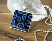 midnight blue swirls Glass Square Necklace, Square Glass Pendant, Dichroic Jewelry, Dichroic Pendant, Fused Glass Jewelry