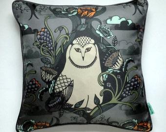 Silk Owl Cushion / Silk Owl Pillow / Owl Print Pillow / Owl Print Cushion / Luxury Silk Pillow