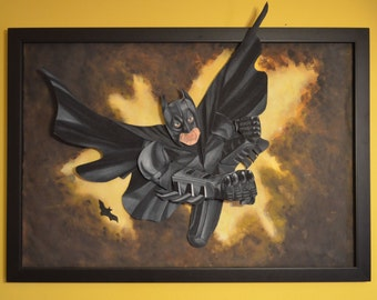 Batman Mixed Media Art Felt Portrait  27x40in