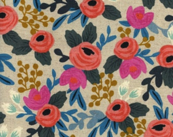 Cotton + Steel - Rifle Paper Co. - Les Fleurs - CANVAS Rosa Floral in Natural