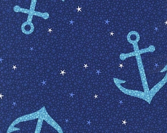 SALE - Michael Miller - Into the Deep Collection - Starfish Anchors in Midnite