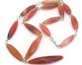 Vintage Carnelian Gemstone Necklace, Stone Necklace, Silvertone Links