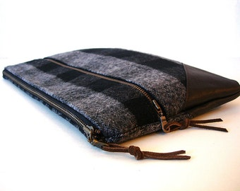 Large Zipper Clutch  Chocolate and Grey Plaid and Leather