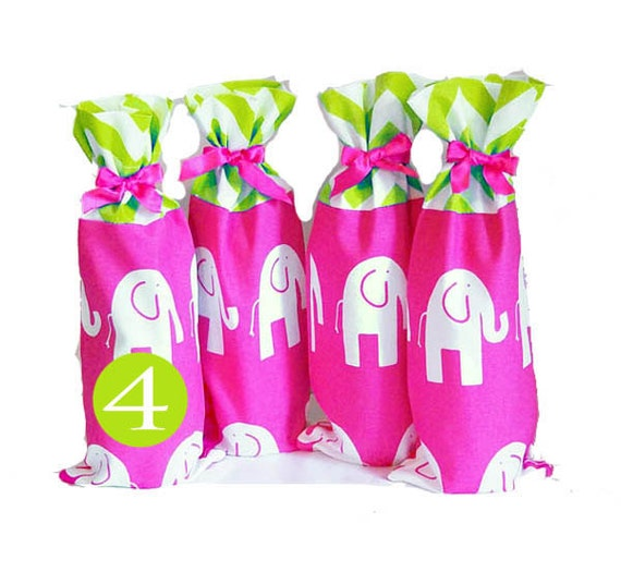 Baby Shower Hostess Gifts, 4 Pack, Elephant Print Wine Bags, Bright Pink Aqua Chevron, Fun Gifts for the Hostess, Baby Shower Party Prizes