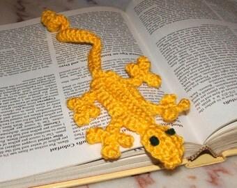 Gold Crocheted Lizard Bookmark