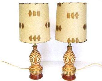 Mid Century Bedroom Lamp Pair, Fiberglass Shades, Geometric Shapes