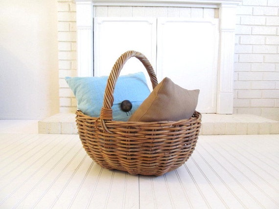 Vintage Extra Large Wicker Handle Basket Boho Home Decor