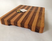 Wood strip Cutting Board, Black Walnut and Cherry #160301
