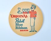 33 Pabst Blue Ribbon coasters, 1960's beer coasters, PBR new old stock in wrapper, in excellent condition
