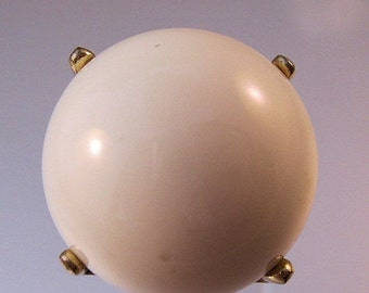 BIGGEST SALE of the Year 1960's White Lucite Dome Ring Size 7 Vintage Statement Jewelry Jewellery