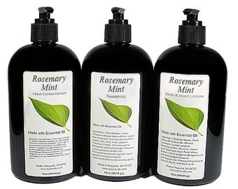 ROSEMARY MINT Shampoo, Conditioner, Lotion, Essential Oil, VEGAN, Paraben Free, Homemade, Natural, 8oz, 16oz, Black Pump
