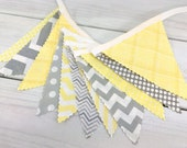 Bunting Fabric Banner, Fabric Flags, Nursery Decor, Birthday Decoration, Baby Shower - Yellow, Grey, Gray, Chevron, Gingham, Stripe, Dots