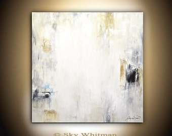 Large Original Painting 36x36 Modern Abstract Art Gray Sienna Square Oil Painting Contemporary Art Bethany Sky Whitman