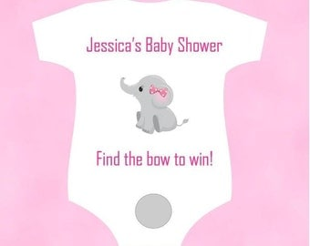Baby Shower Scratch Off Game Cards - Onesie Shaped Card with Baby Elephant Boy or Girl