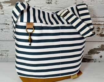 Purse or Tote bag in Stockholm Navy Blue Stripe, waterproof base -3 SIZES - Lightweight and durable!  by Darby Mack made in the USA