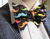 Rainbow Moustache Bow Tie