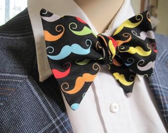Rainbow Moustache Bow Tie