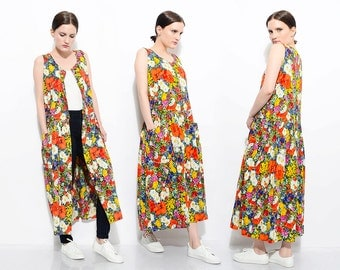 90s Floral Sundress Loose Oversize Duster Vest Dropped Waist Garden Party Sleeveless Midi Dress Small Medium S M