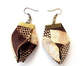LetsPartySale Gilgulim African fabric earrings, origami fabric earrings, statement earrings, Bijoux textile fabric