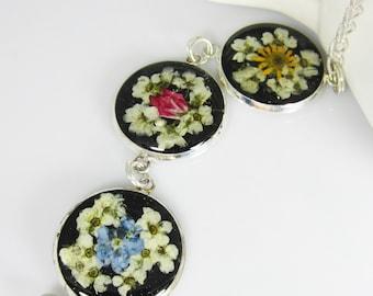 Pressed Flower Bracelet,  Adjustable,  Real Flowers, Silver Plated Brass,  Resin (1937)