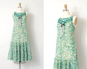 vintage 1970s dress / drop waist 70s floral dress / Meadowsweet