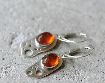 Amber earrings sterling silver dangly earrings, baltic amber jewelry, asymmetrical earrings
